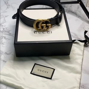 ✨Gucci GG belt ✨ black with brass gold